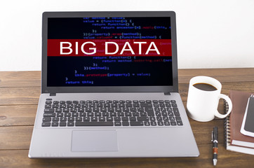 "Laptop with an image on the ""Big data"" screen. Concept"