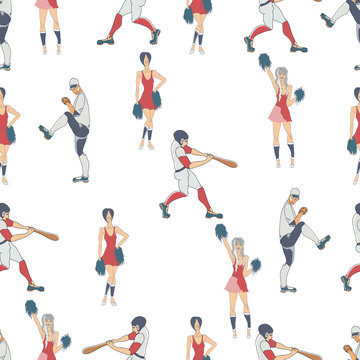 Seamless pattern. Vector hand drawn silhouettes of a  baseball players . Cute cartoon character.