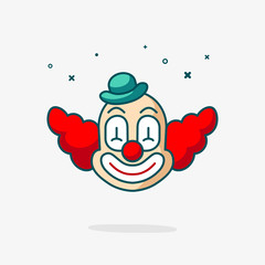 Clown head vector icon. Fun cute smile mask face isolated on white. Circus carnival cartoon art illustration. Design for happy birthday party, poster, banner, card, web site, modern trendy flat style