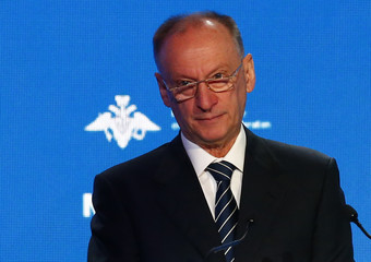 Nikolai Patrushev, the Secretary of Russia's Security Council, attends a speech during the annual Moscow Conference on International Security in Moscow