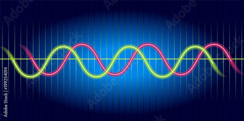 Neon Wave Graph Oscilloscope With Image Of Wave Diagram Stock