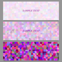 Colored abstract tiled rectangle pattern banner design set