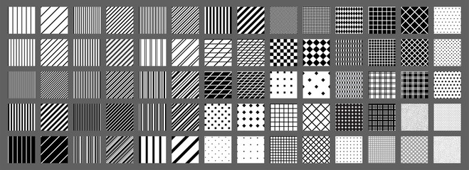 Big set of 70 seamless abstract patterns. Black and white. Vector.