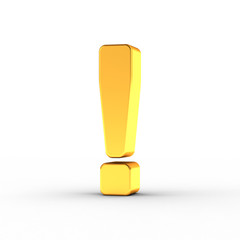 Exclamation mark as a polished golden object with clipping path