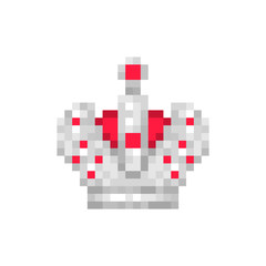 Silver Imperial crown with red gems, pixel art character isolated on white background. Old school 8 bit slot machine pictogram. Retro 80s; 90s video game graphics. King's symbol. Sign of emperor.