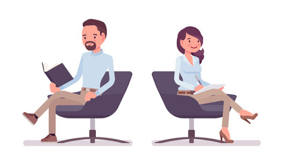 Smart casual man and woman sitting with book, paper