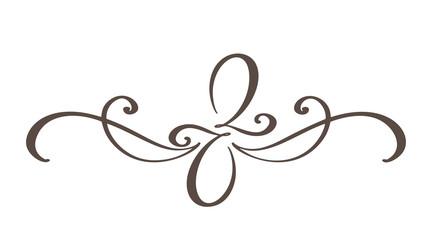 Hand drawn border flourish separator Calligraphy designer elements. Vector vintage illustration Isolated on white background