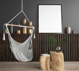 Mock up poster frame in hipster style interior background, 3D render