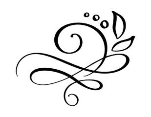 Hand drawn border flourish separator Calligraphy designer elements. Vector vintage wedding illustration Isolated on white background