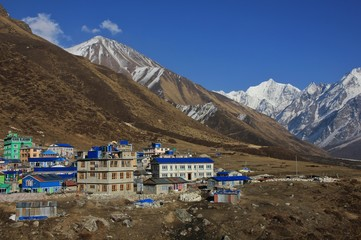 Hotels in Kyanjin Gumba, Nepal. Tserko Ri, popular view point and mountain in the Langtang valley. Snow covered mountain Gangchenpo.