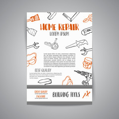 Home improvement construction tools hand drawn brochure. Bussiness banner, advert