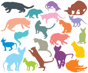Set of colorful cats silhouettes-3