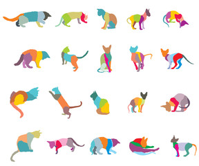 Set of mosaic cats silhouettes-3