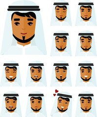 Set of different avatar arab people in colorful flat style. Collection of various emotion expression arabic avatar man(woman)-happy, angry, sad, funny.