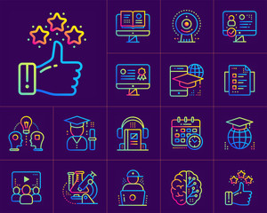 Online education and e-learning vector icons set. Suitable for print, presentation, website.
