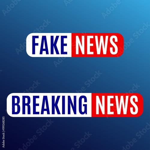 fake news and breaking news banner news emblem design template