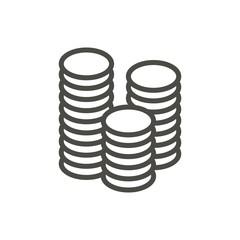 Money icon vector. Line coin symbol.
