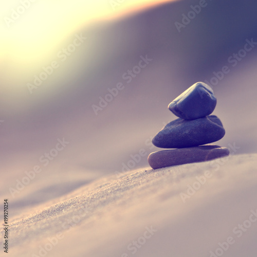Nature Harmony Pyramid Of Stones Symbol Of Calm Stock Photo And