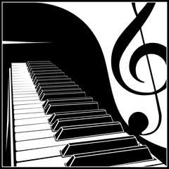 Piano keyboard with a symbolic note