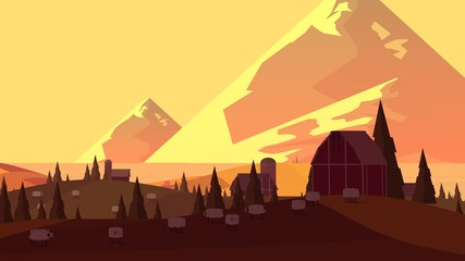 Rural Landscape. Cartoonish View.