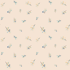 Seamless pattern with olive bunches. Pastel colors olive decorative texture for label, pack, tune, paper.