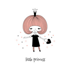 Printed kitchen splashbacks Illustrations Hand drawn vector illustration of a cute little princess in a black dress, with text. Isolated objects on white background. Line drawing. Unfilled outline. Design concept for children print.