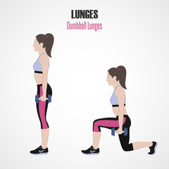 Sport exercises. Exercises with free weight. Classic Lunges. Illustration of an active lifestyle.