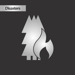 black and white style forest fire
