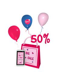 pinkfarbene Einkaufstasche mit Luftballons und einem handy mit sale 50% Werbung. 3d render