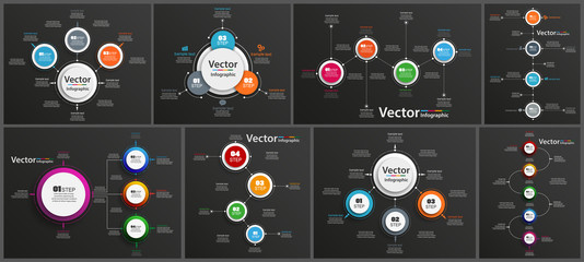Collection of infographic on black background can be used for workflow layout, diagram, number options, web design. Infographic business concept with options, parts, steps or processes. Vector Eps 10