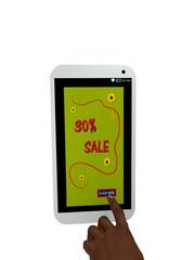 Handy mit Werbeanzeige 30% Sale und einem Finger der auf einen Button drückt. 3d render
