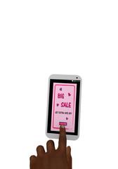 Handy mit rosa Werbeanzeige 30% Sale und einem Finger der auf einen Button drückt. 3d render