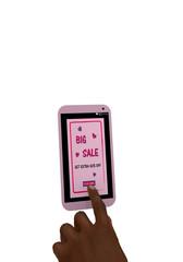 rosa Handy mit Werbeanzeige 50% Sale und einem Finger der auf einen Button drückt. 3d render