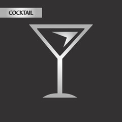 black and white style martini glass