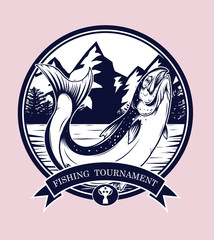 Fishing logos vector by hand drawing.Salmon art highly detailed in line art style.Salmon fish are jumping Snatch lure fake bait.Fishing logos for tournament