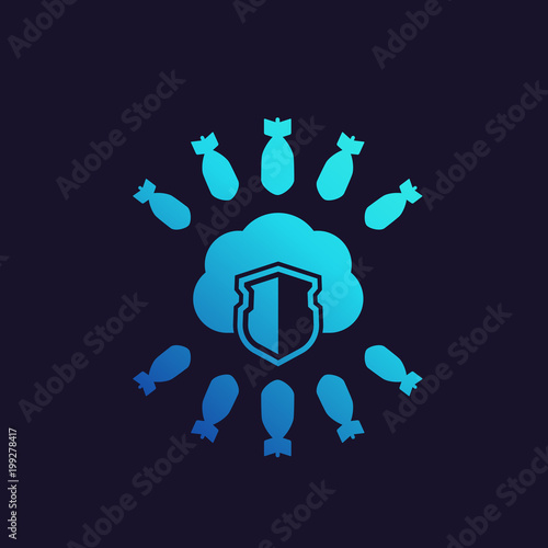 hosting under ddos attack vector icon stock image and royalty free