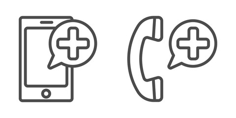 Smart phone and Medical icon. Vector lines. Medical cell phone icons