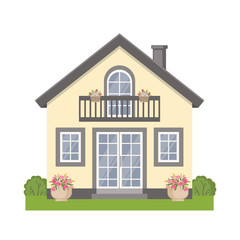 Colorful cottage house icon in flat style.