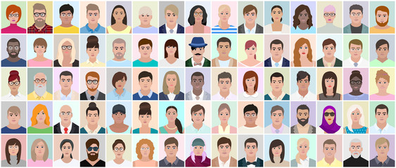 People window different faces vector