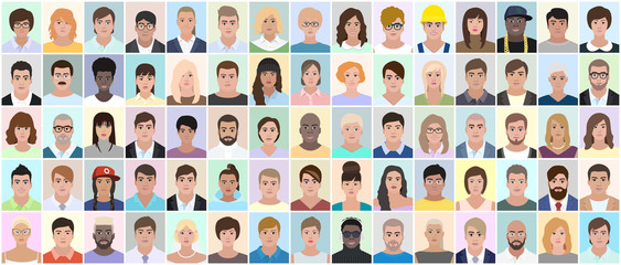 Many different people, portrait, vector