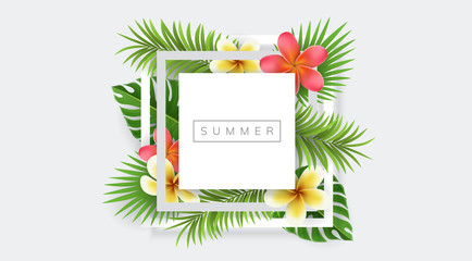 Square frame with exotic flowers and palm leaf, on white background. Vector design for summer and exotic desing