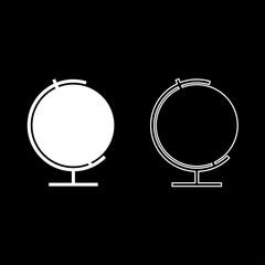 Globe icon set white color illustration flat style simple image