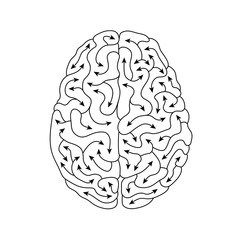 Black & white creative human brain line art illustration
