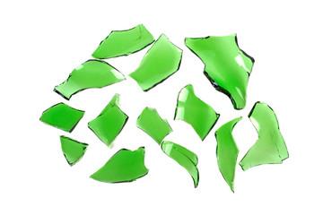 broken glass, broken green bottle on a white background