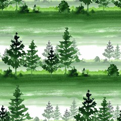 Seamless pattermn with  green forest. Watercolor landscape