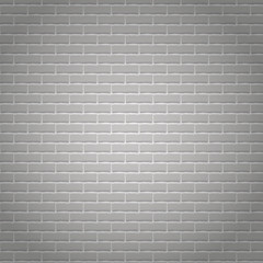 Realistic light grey brick wall background.
