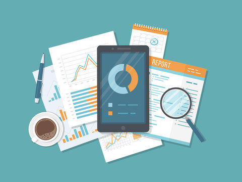 Mobile auditing, data analysis, statistics, research. Phone with information on the screen, documents, report, calendar, magnifier, coffee, pen. Growing Charts and Charts. Top view Vector illustration