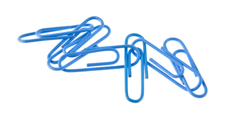 blue paper clips isolated on white background