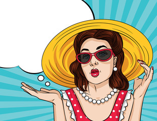 Vector retro illustration pop art comic style of a pretty woman in red dress wear sunglasses and a hat. Summer time poster of a girl showing something