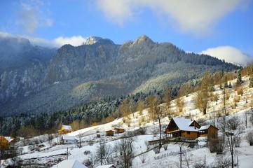 Romanian mountain landscape. Ceahlau Romanian mountain landscape in winter season.